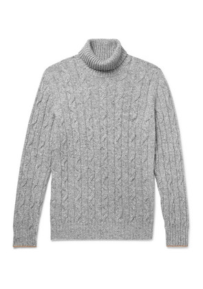 Contrast-tipped Mélange Cable-knit Rollneck Sweater