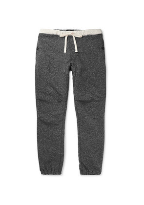 Slim-fit Tapered Mélange Cotton-blend Jersey Drawstring Trousers