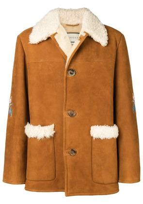 Gucci floral embroidered coat - Brown