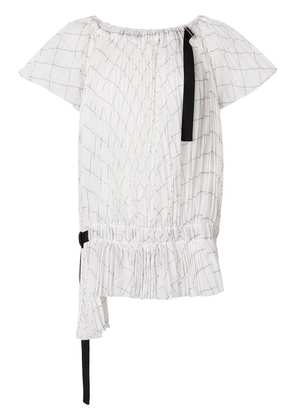 Sacai off-the-shoulder checked blouse - White