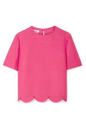 Valentino - Studded Scalloped Wool And Silk-blend Crepe Top - Pink