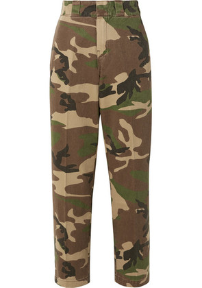 R13 - Camouflage-print Cotton-twill Wide-leg Pants - Army green