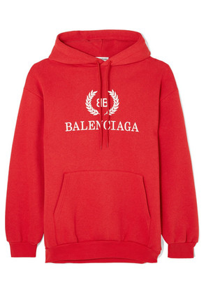 Balenciaga - Printed Cotton-blend Jersey Hoodie - Red