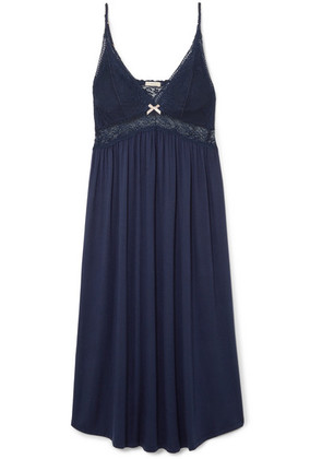 Eberjey - Colette Lace-trimmed Stretch-modal Nightgown - Navy