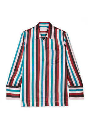 ASCENO - Striped Silk-satin Pajama Shirt - Turquoise
