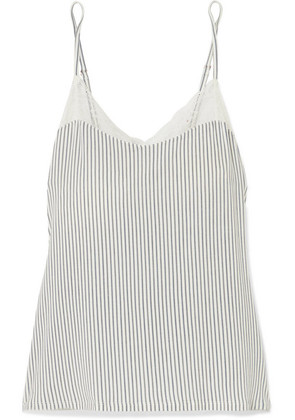 Eberjey - The Dreamer Lace-trimmed Striped Stretch-modal Camisole - Light denim