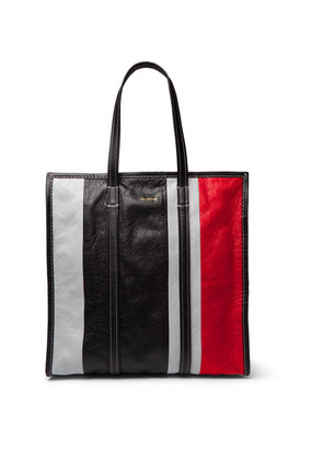 Bazaar Arena Striped Creased-leather Tote Bag