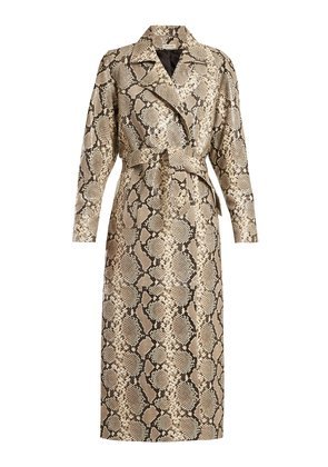 Python-print belted leather coat