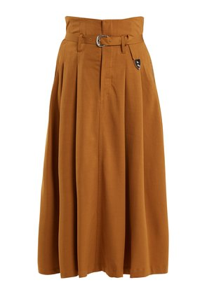 High-rise belted maxi skirt