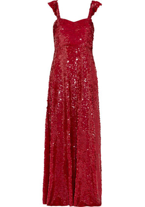 Valentino - Paillette-embellished Silk-georgette Gown - Red