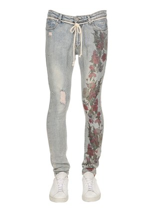 HAND-DISTRESSED FLORAL PRINT DENIM JEANS