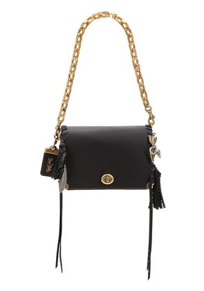 CHARMS LEATHER BAG W/ LOGO CHAIN