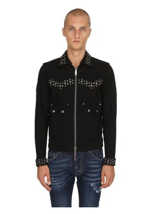 STUDDED ZIP-UP COTTON DENIM JACKET