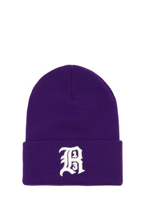 EMBROIDERED KNIT BEANIE HAT