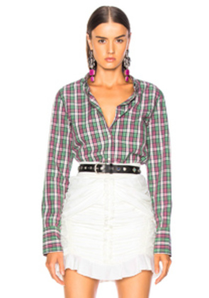Isabel Marant Etoile Owill Shirt in Green,Plaid,Pink