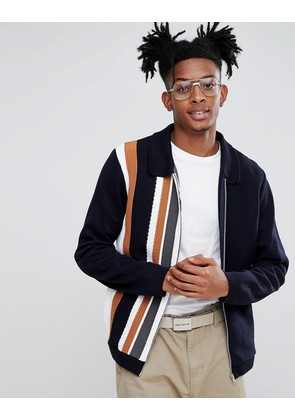 ASOS Knitted Jacket In Milano Stitch With Vertical Stripe - Multi