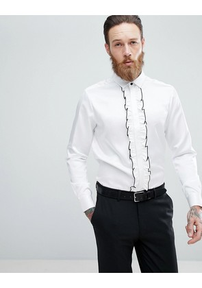 ASOS DESIGN Wedding regular fit shirt with ruffled bib - White