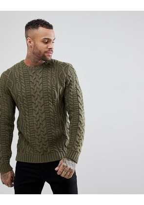 ASOS Chunky Cable Knit Jumper In Khaki - Khaki