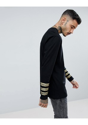 ASOS Longline Long Sleeve T-Shirt With Gold Sartorial Sleeve Taping - Black