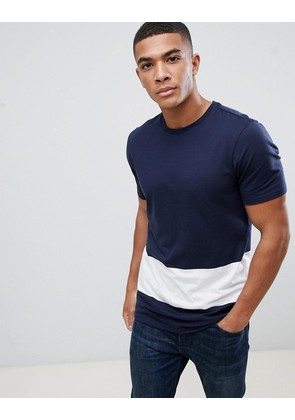 New Look colour block t-shirt in navy and white - Navy