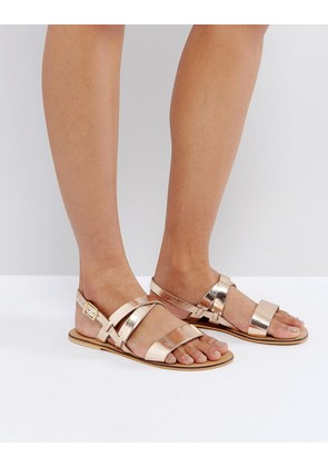 ASOS FINALLY Leather Flat Sandals - Gold
