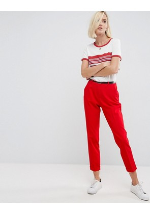 ASOS The Slim Tailored Cigarette Trousers With Belt - Red