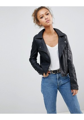 Brave Soul Pu Biker Jacket With Lace Up Sleeve Detail - Black