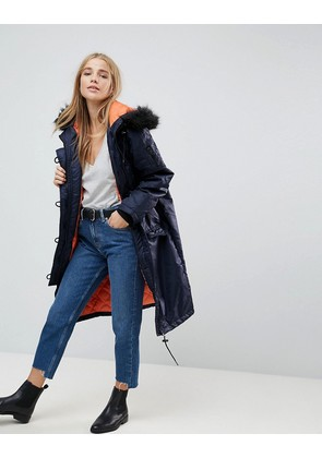 Brave Soul Full Moon Maxi Parka Coat - Navy