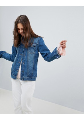Brave Soul Fielding Longline Denim Jacket - Blue