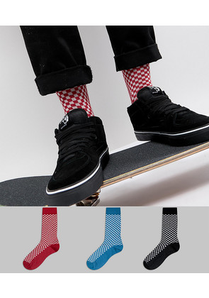 ASOS Textured Socks In Checkerboard Design 3 Pack - Multi