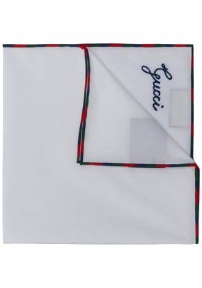 Gucci Gucci script pocket square - White
