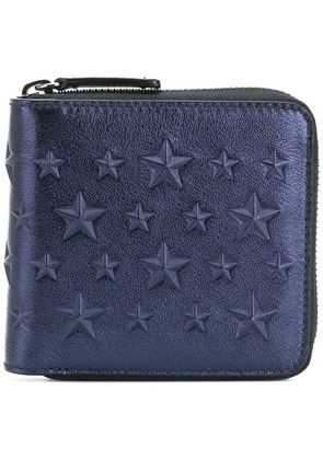 Jimmy Choo Lawrence star studded zip around wallet - Blue