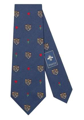 Gucci Tigers pattern silk tie - Blue