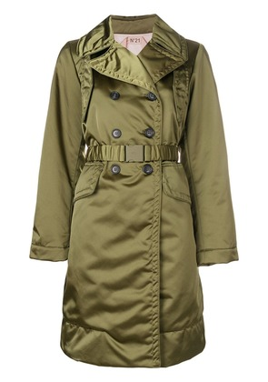 No21 belted satin trench coat - Green