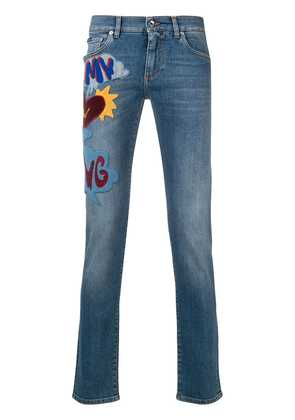 Dolce & Gabbana slogan patch jeans - Blue