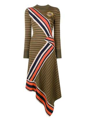 Temperley London striped asymmetric dress - Green
