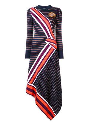Temperley London asymmetric striped dress - Blue