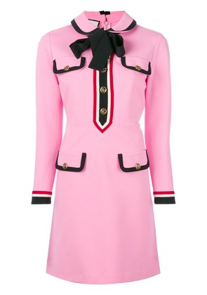 Gucci bow neck Web trim dress - Pink & Purple