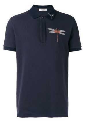 Valentino dragonfly embroidered polo shirt - Blue