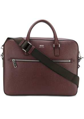 Boss Hugo Boss logo zipped laptop bag - Red