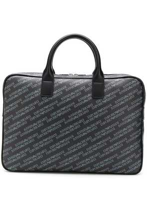 Emporio Armani logo print laptop bag - Black