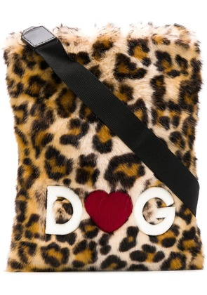 Dolce & Gabbana leopard print shoulder bag - Black