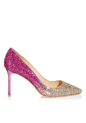 ROMY 85 Gold and Hot Pink Coarse Glitter Dégradé Fabric Pointy Toe Pumps