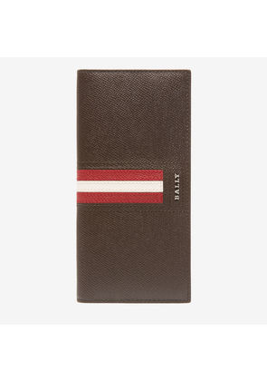 Bally Trigo Brown, Men's embossed bovine leather continental wallet in coffee