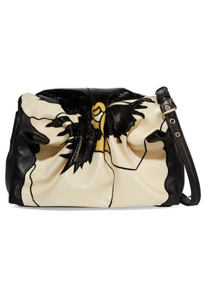 Valentino - Valentino Garavani Bloomy Floral Leather And Snakeskin-effect Shoulder Bag - Black