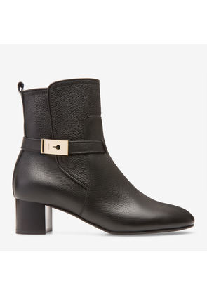 Bally Iris Black, Women's grained calf leather ankle boot with 45mm heel in black