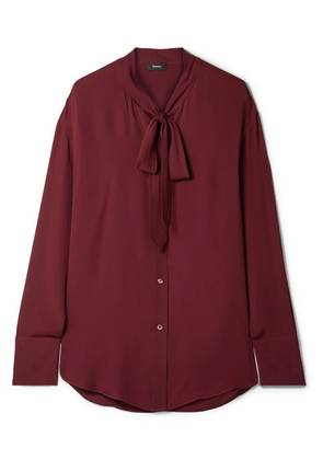 Theory - Weekender Pussy-bow Silk-georgette Blouse - Claret