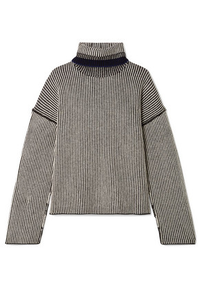 Theory - Striped Cashmere Turtleneck Sweater - Black