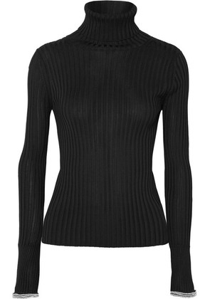 Alexander Wang - Crystal-embellished Ribbed-knit Turtleneck Sweater - Black