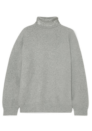 Alexander Wang - Crystal-embellished Wool-blend Turtleneck Sweater - Light gray
